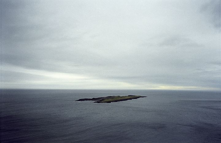 Aerial view of an island in the ocean, Iceland