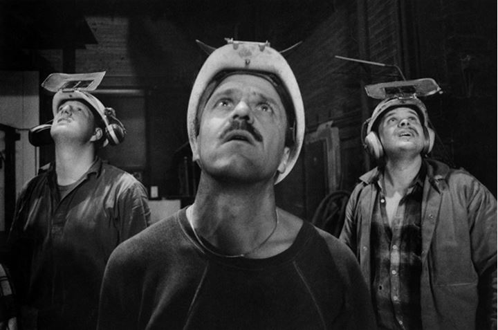 Workers looking up