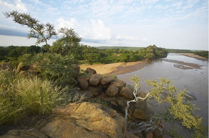 Motloutsi River viewed from the top of Solomon's Wall. Mashatu Game Reserve. Nothern Tuli Game Reserve. Botswana
