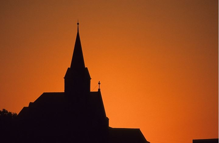 Luderitz view of Luthern Church at sunset. Namibia