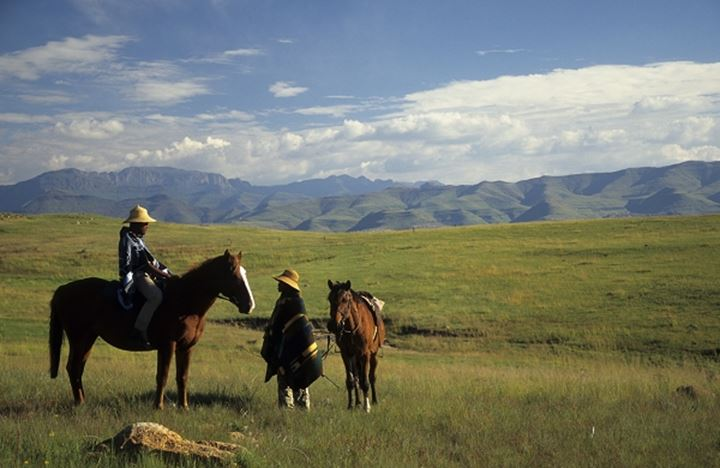 Basotho Men. On horseback. Near Clarence. Free State. South Africa