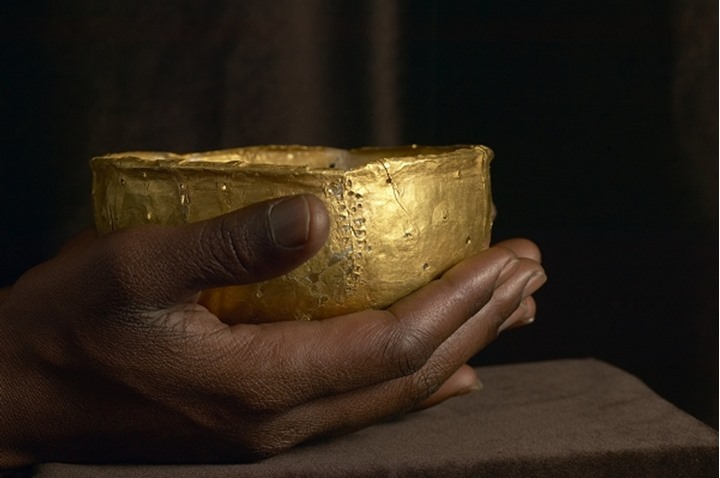 Gold bowl (144mm x74mm weighing 98.4g). Recovered from Mapungubwe Hill. Northern Province. South Africa.  Photographed at the Mapungubwe Museum. University of Pretoria.