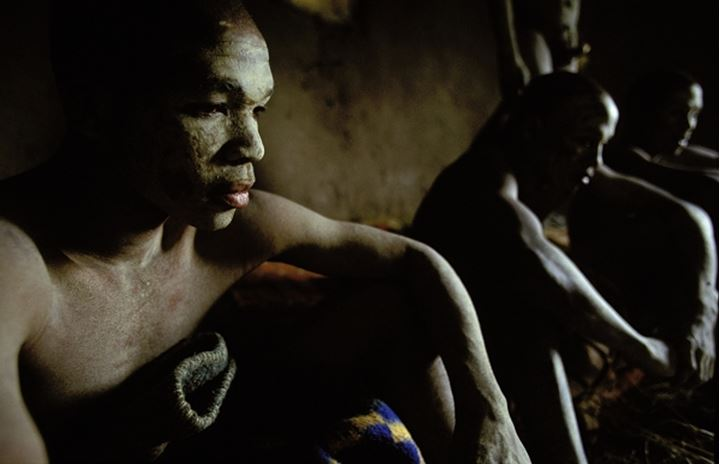 Amakweta (young men that have just been circumcised) inside hut. Coffee Bay. Wild Coast. Eastern Cape. South Africa