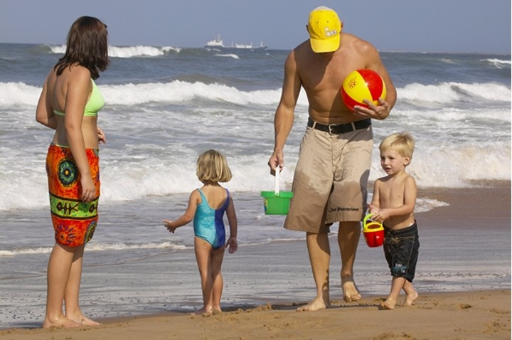 Family fun on the beach. Durban. KwaZulu-Natal. South Africa.