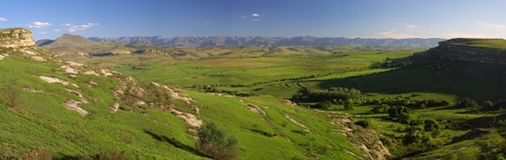 Rural Scene. Near Clarence. Eastern Free State. South Africa. View towards the Maluti Mountains and Lesotho.