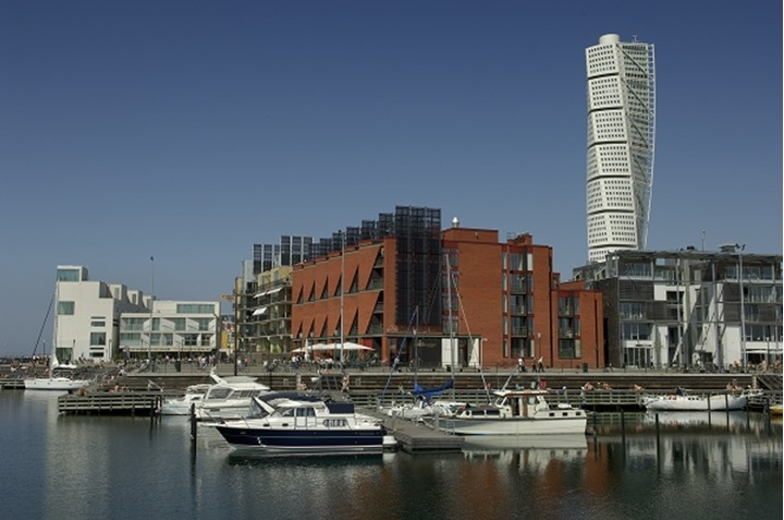 Turning Torso and motorboats in west harbour, Malmoe, Sweden