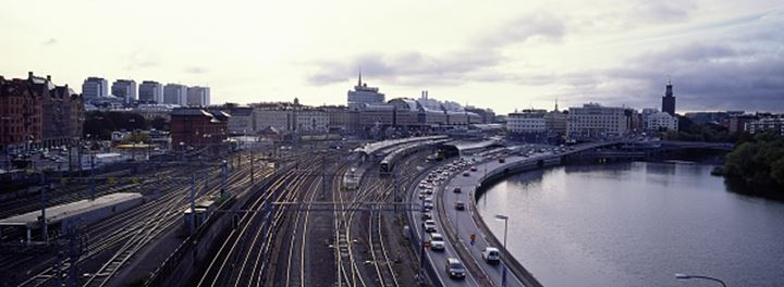 Railway tracks in downtown Stockholm