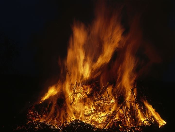Closeup of flames in a bonfire