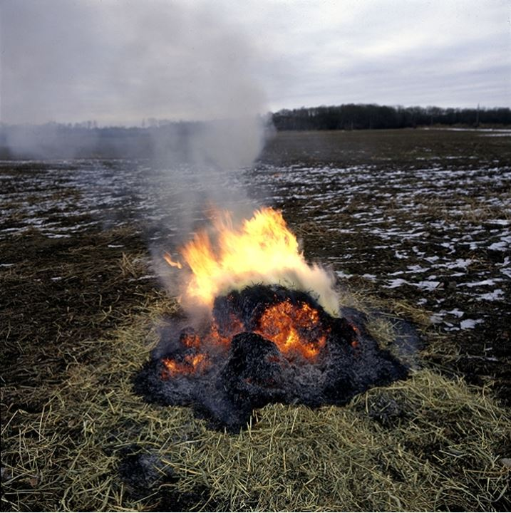 Burning bonfire with flame and smoke in winter