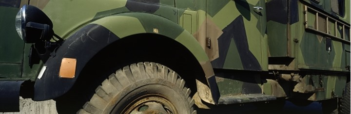 Panoramic view of an army truck