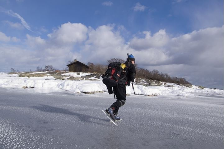 A person walking on snow