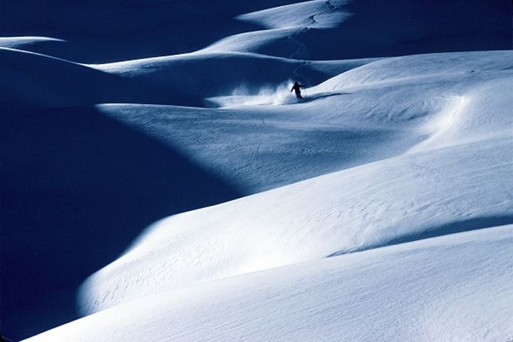 A person skiing on snow