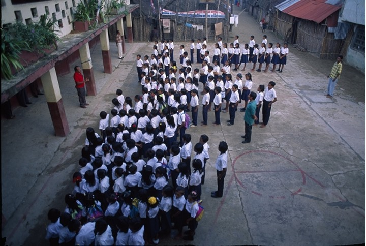 High angle view of school assembly, Panama