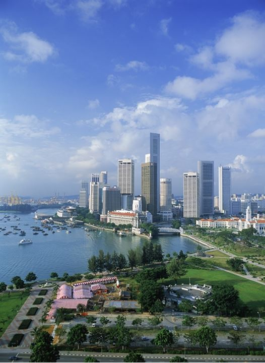 Central business district of Singapore over Marina Park