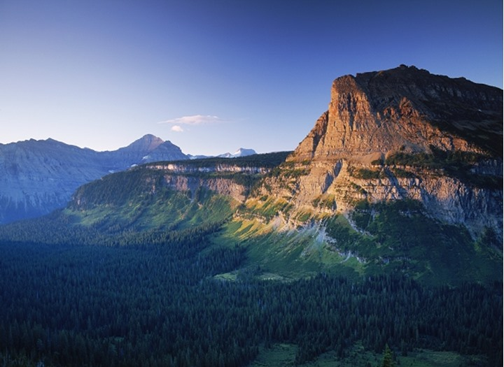 Rocky Mountains in Glacier National Park near Logan Pass at sunrise Montana