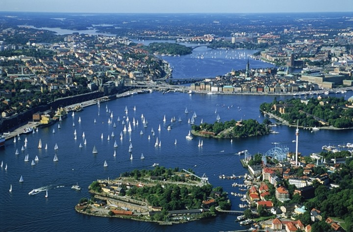 Aerial view of Stockholm above Djurgarden with sailboats on waterways