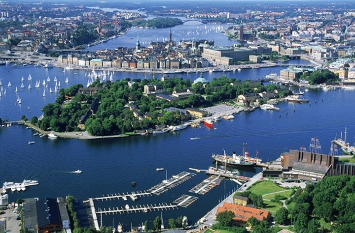 Aerial view of Stockholm over Skeppsholmen and Wasa Museum