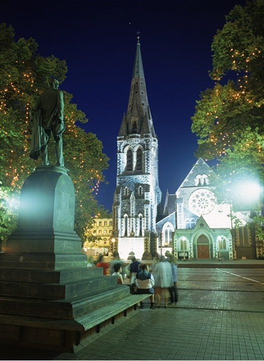 19th Century Cathedral Square in Christchurch New Zealand at night