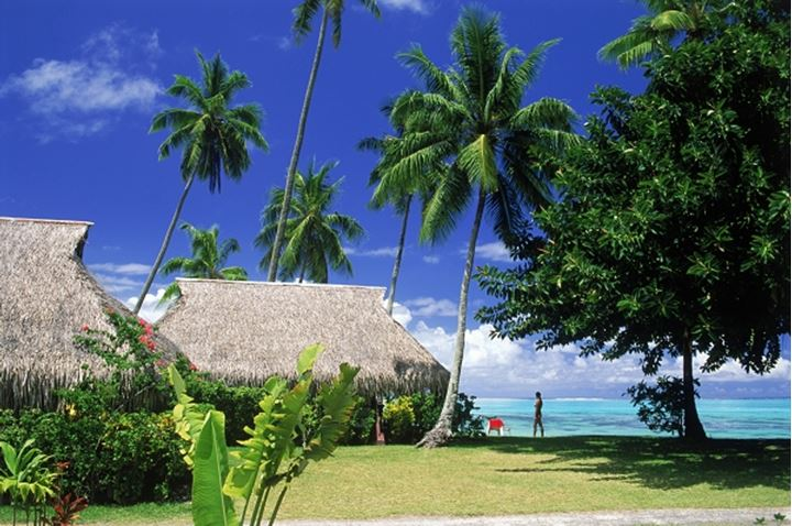 Grounds of Hibiscus Hotel on Moorea Island in French Polynesia