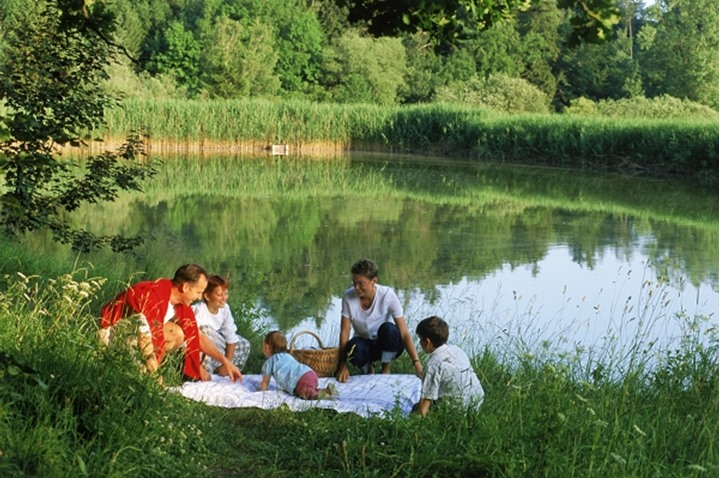 Family picnic near countryside pond