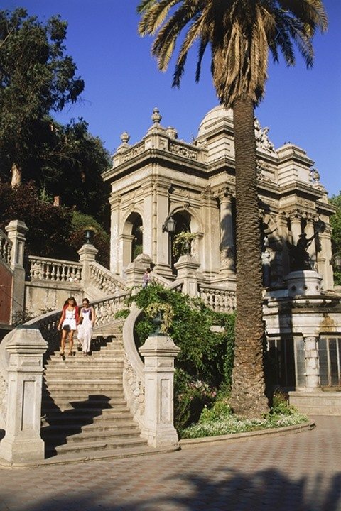 Two women visiting Cerro Santa Lucia in Santiago Chile