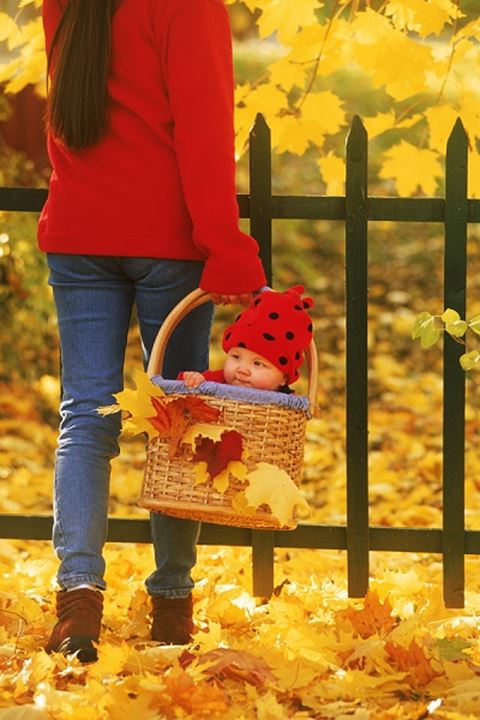 Mother carrying baby in basket amid autumn colors