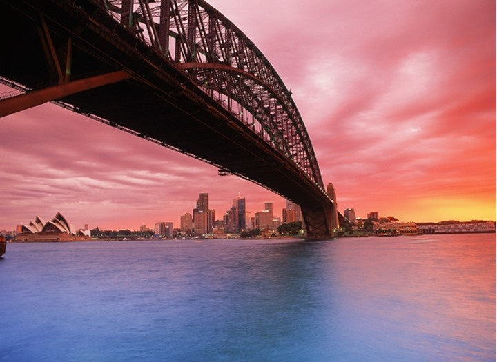 Harbour Bridge and Opera House at sunset from North Sydney