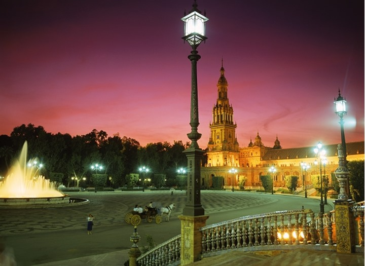 Plaza de España at night in Seville Spain