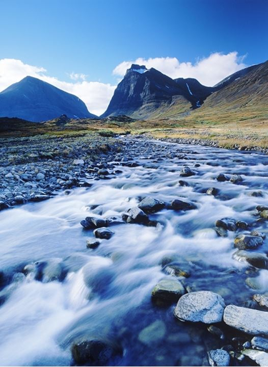 Small stream through Latjovagge in Kebnekaise Mountains in Swedish Lapland