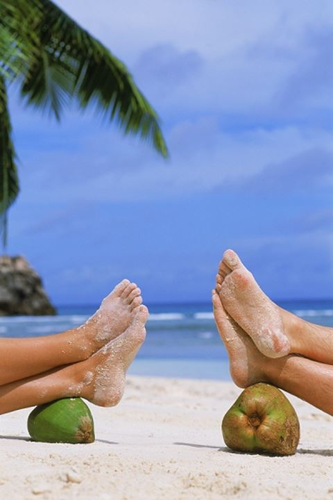 Four sandy feet resting on two coconuts on tropical beach