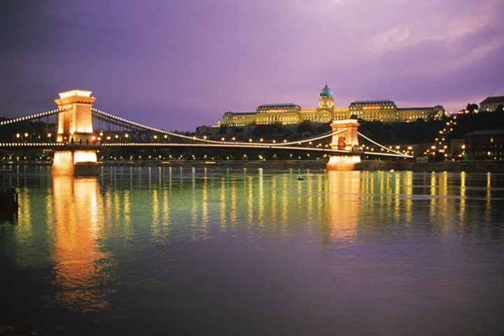 Chain Bridge and Royal Palace On Danube River at night in Budapest Hungary