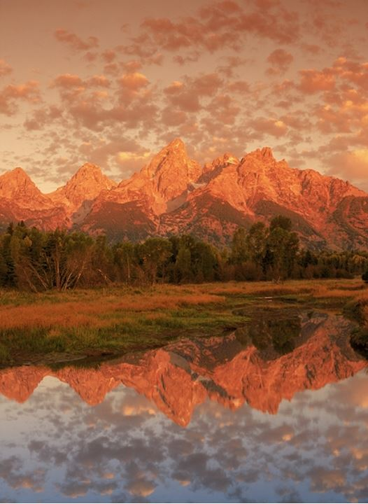 Mount Moran and Teton Range reflecting off ponds at Oxbow along Snake River at sunrise near Jackson, Wyoming