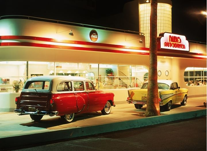 The good old days family restaurant at Ruby's Autodiner in Laguna Beach California
