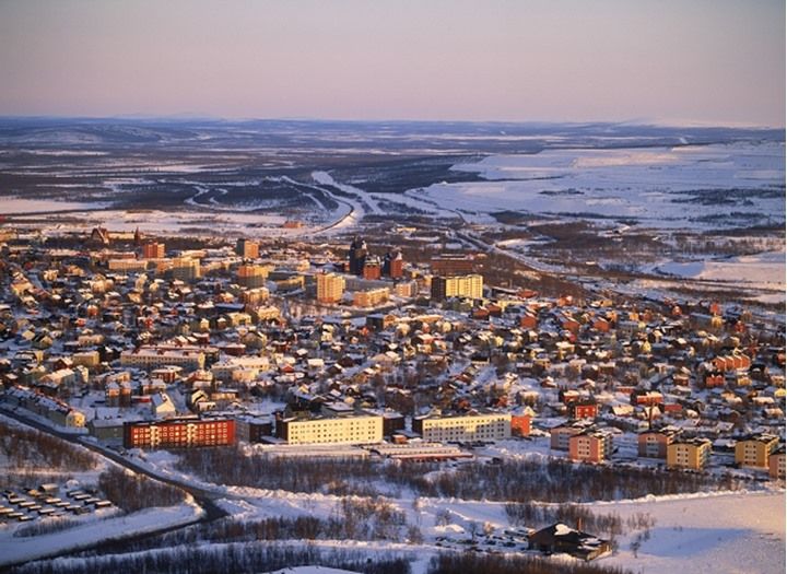 Aerial view of Kiruna in Swedish Lapland above Arctic Circle and largest city in world in area.