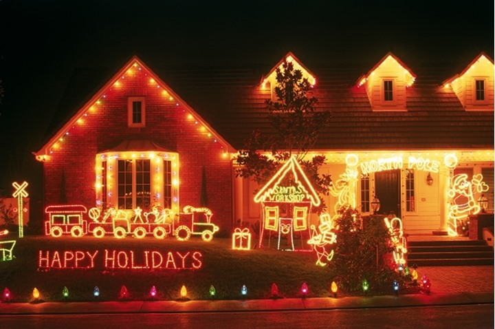 Outdoor Christmas decoarations on residential home in Southern California