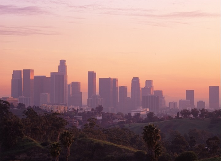 Sunset skies over Los Angeles skyline from Elysian Park