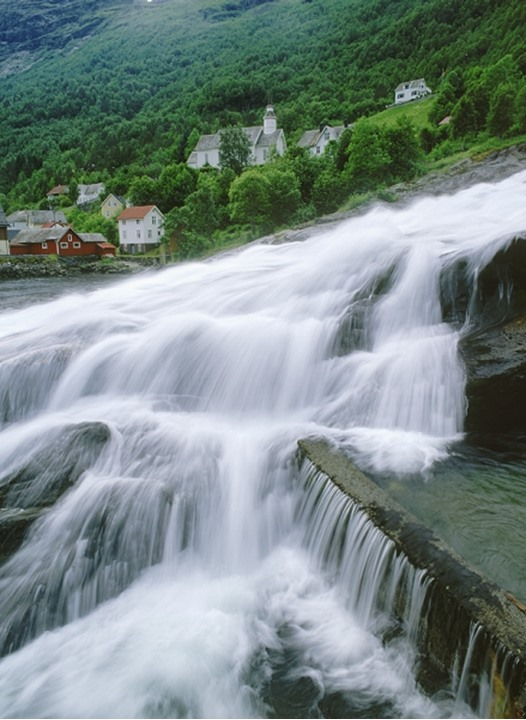 Hellesylt Falls and village in More-Romsdal region of Norway