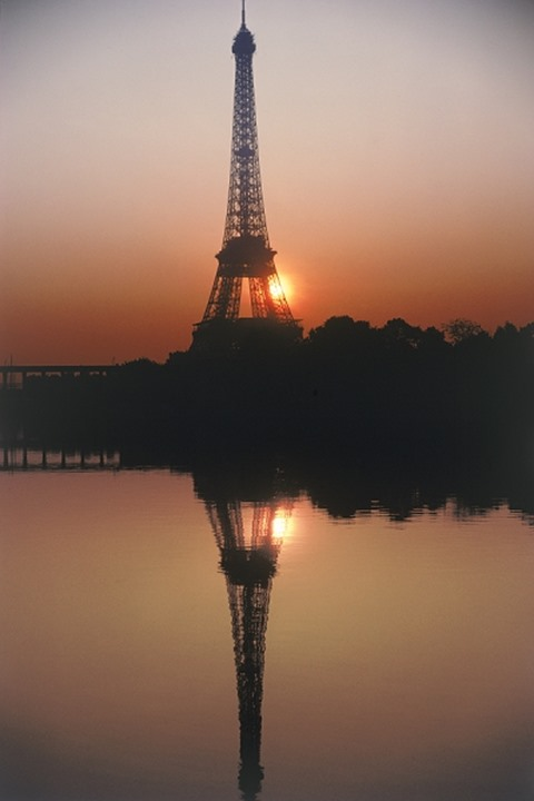 Reflection of Eiffel Tower in the water, Paris, France