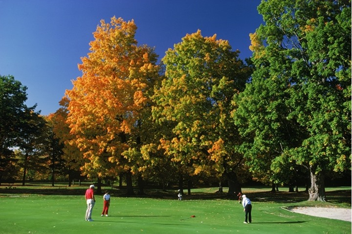 Playing golf in New England in the autumn at Gorham, New Hampshire