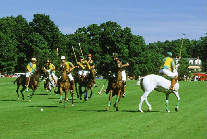Polo players in team action at Campo de Polo in Buenos Aires, Argentina