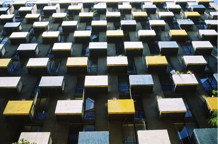City highrise apartment balconies like cellblocks or boxes in Santiago