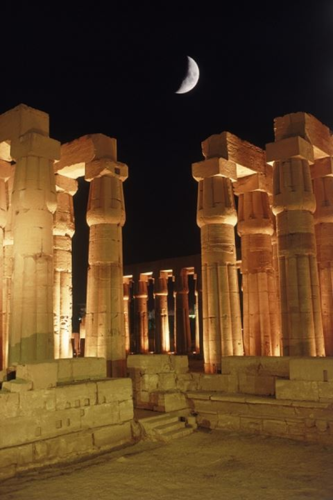 Colonnades of Amenhotep III in Luxor on East Bank of Nile in Egypt