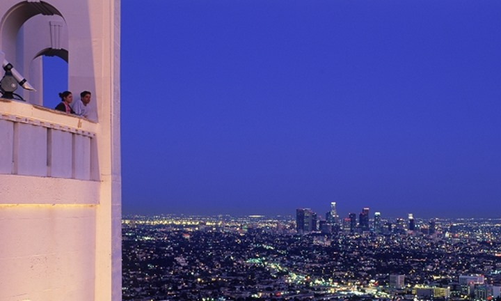 Los Angeles urban sprawl at twilight from Griffith Park Observatory