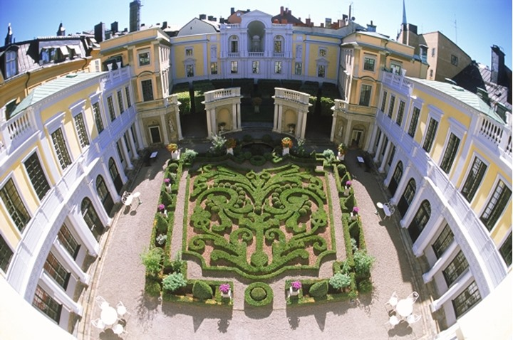 Baroque garden at Tessinska Palace in Old Town of Stockholm