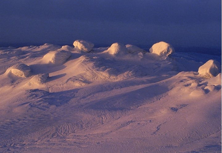 Nature's sculptures highlighted across field of  windblown snow in low light