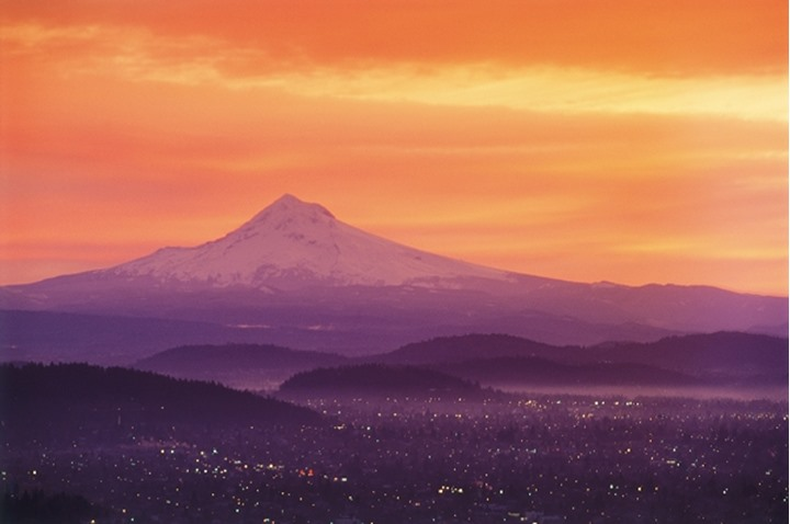 Portland skyline at dawn with Mount Hood in the distance