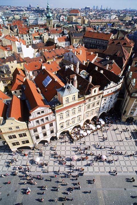 Old Town Square and city from top of Old Town Hall in Prague