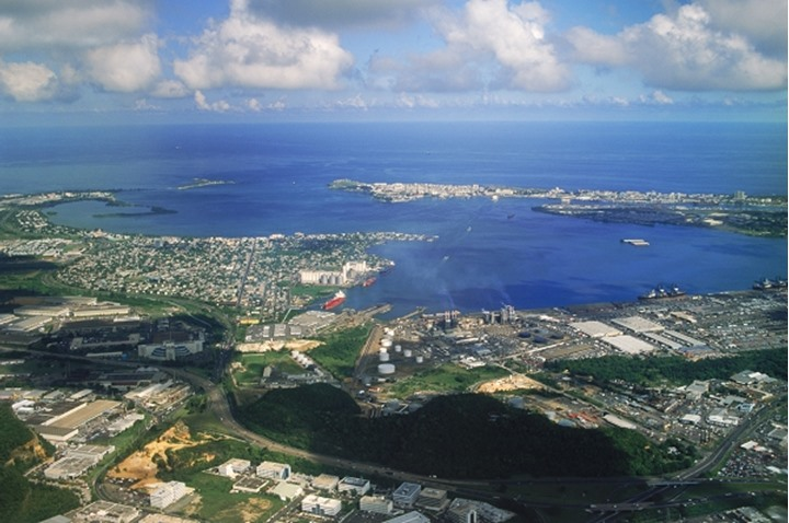 Aerial of San Juan on island of Puerto Rico in the Caribbean