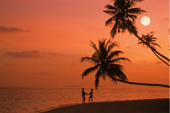 Full moon and palm trees over couple at dawn on Fihalhohi Island in Maldives