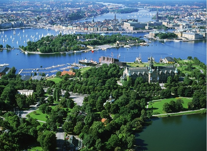 View of lush green islands of Stockholm in summer from the air
